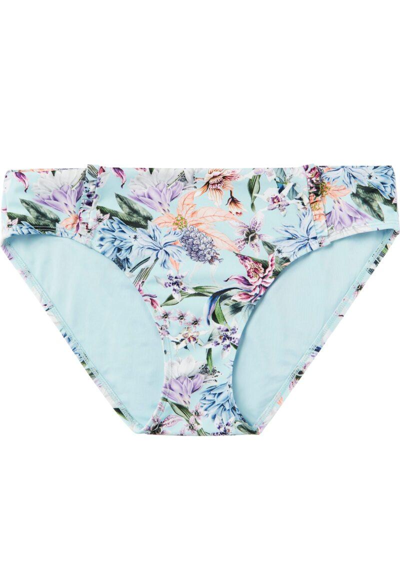 Blå bikininederdel med blommor.