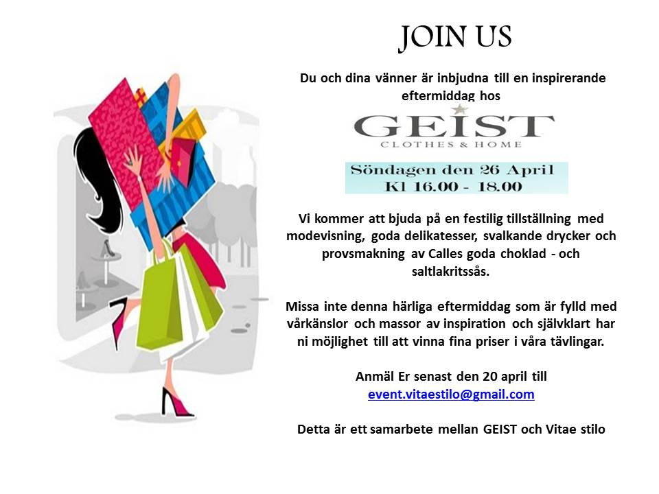 Inbjudan till söndagsshopping hos GEIST