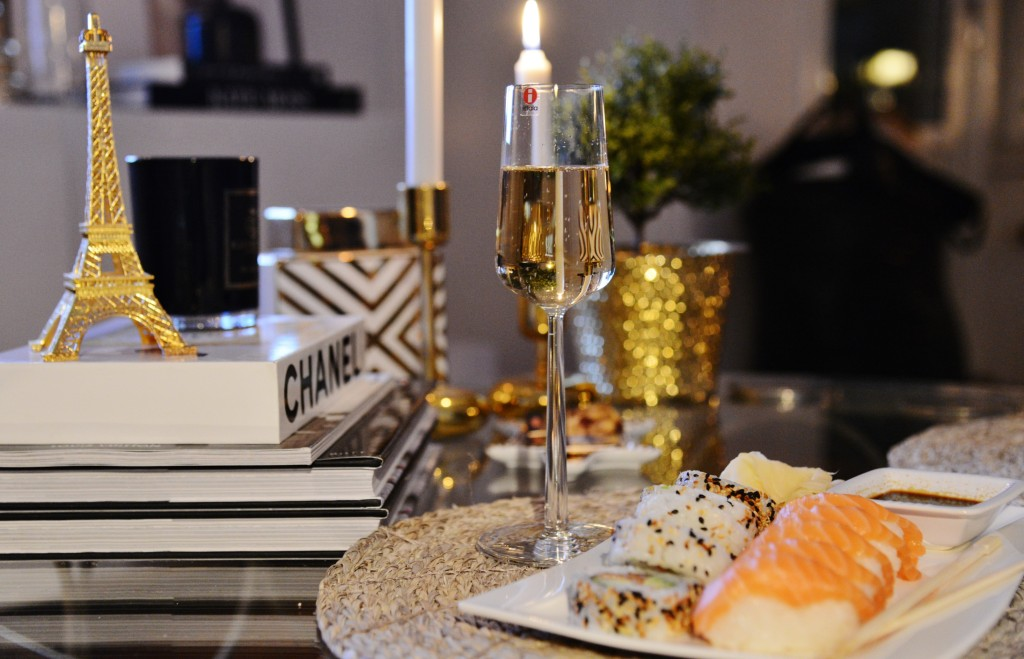 sushi och champagne