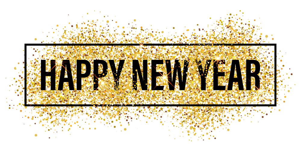 Gold glitter Happy New Year 2017 background. Happy new year glittering texture. Gold sparkles with frame. Chic glittering invitation template for new year eve.