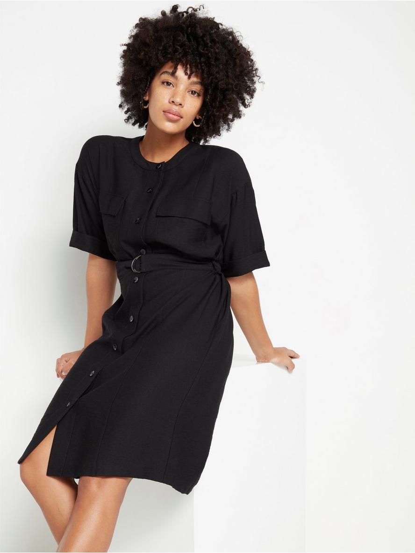 Svart kortärmad skjortklänning Svart